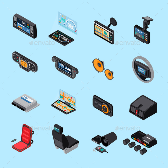 Car Electronics Icons Set - Man-made Objects Objects