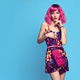 Young Sensual woman in Stylish Outfit. Pink Hair - PhotoDune Item for Sale