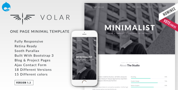 Image of Volar | One Page Minimal Parallax Drupal Theme