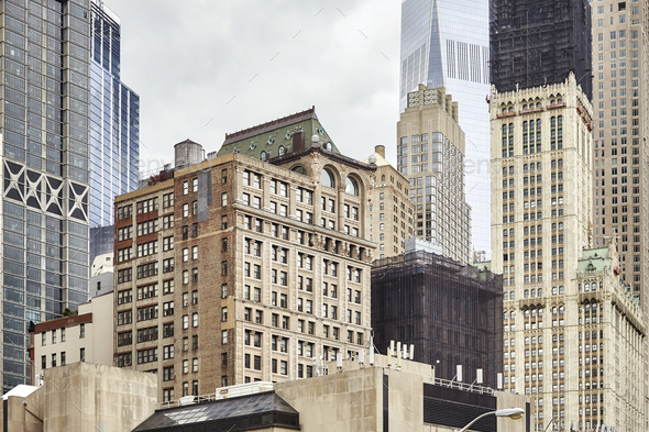 View of old and modern Manhattan buildings, New York. - Stock Photo - Images