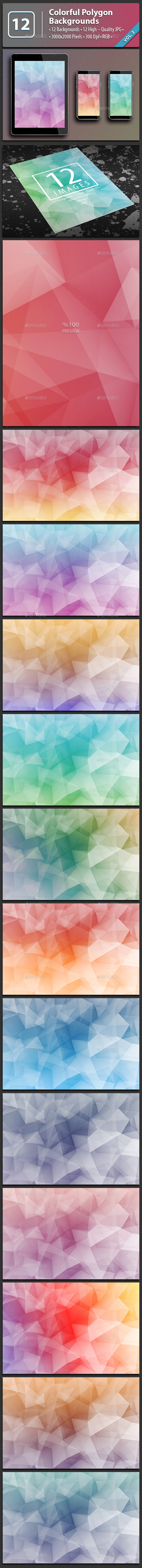 12 Abstract Polygon Backgrounds Vol.3 - Abstract Backgrounds