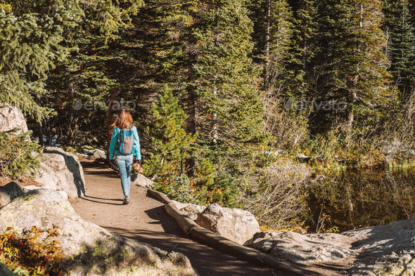 Tourist on trail near Bear Lake in Colorado - Stock Photo - Images