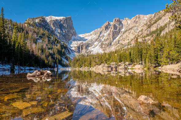 Dream Lake, Rocky Mountains, Colorado, USA. - Stock Photo - Images