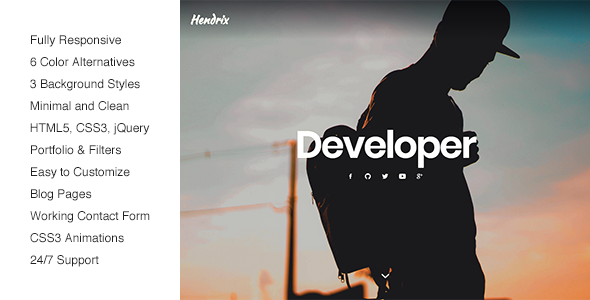 Image of Hendrix - Personal Portfolio HTML Template