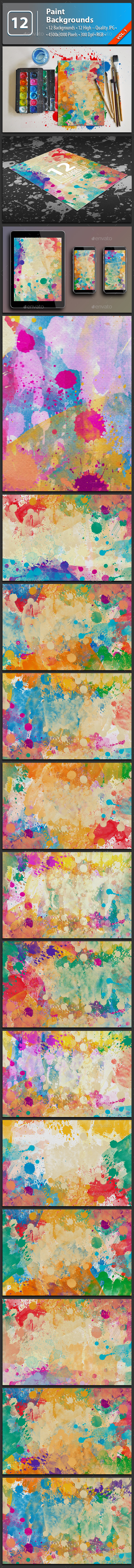 12 Colorful Paint Backgrounds Vol.1 - Backgrounds Graphics