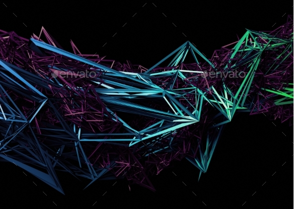 Abstract 3D Rendering of Polygonal Shape - 3D Backgrounds