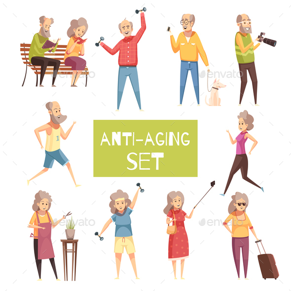 Anti Aging Icons Set - People Characters