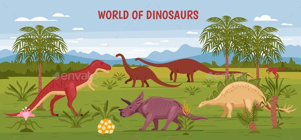 Wild Dinosaur World Background - Animals Characters