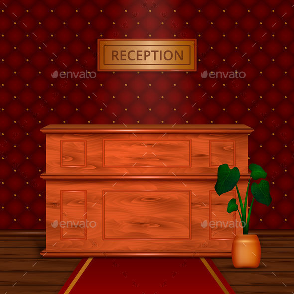 Reception Desk Hotel Interior Realistic - Backgrounds Business