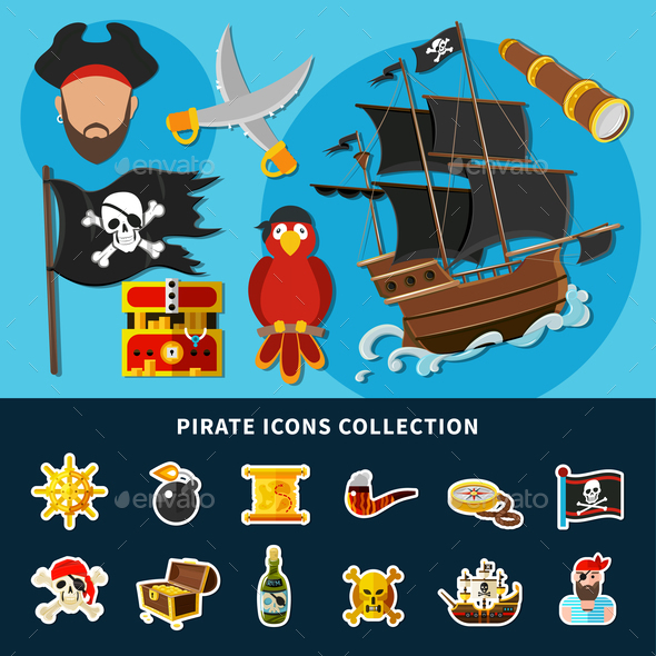 Pirate Icons Cartoon Collection - Miscellaneous Vectors