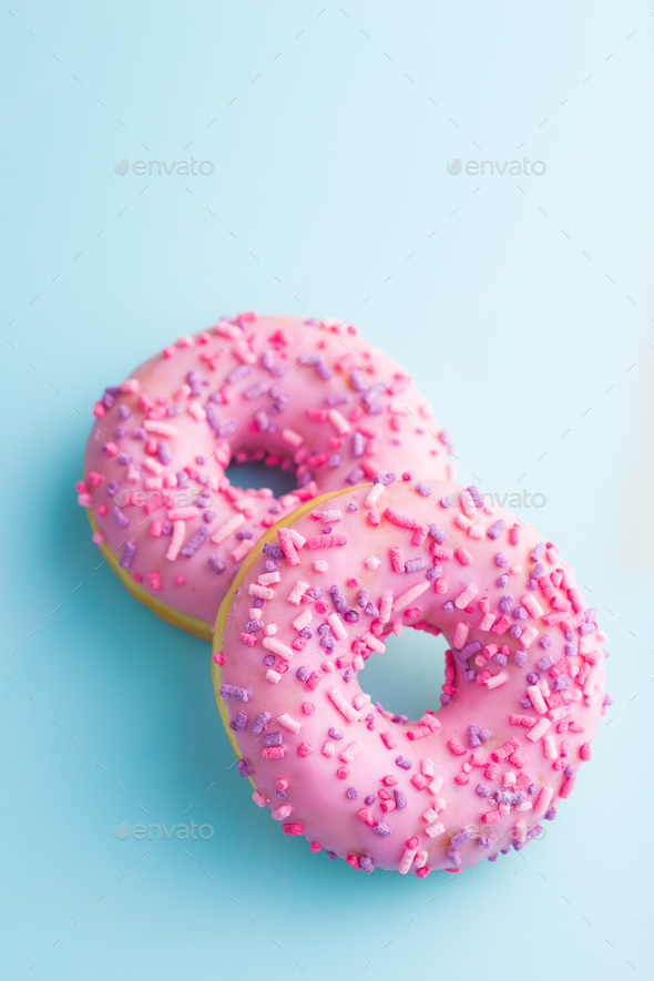 Two pink donuts. - Stock Photo - Images