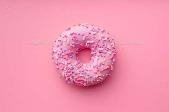 Pink sweet donut. - Stock Photo - Images