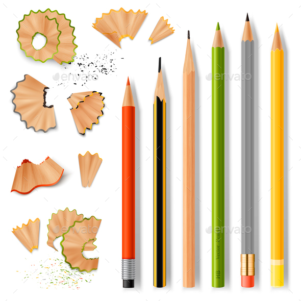 Sharpened Wooden Pencils and Shavings - Man-made Objects Objects