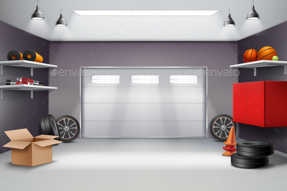 Garage Interior Realistic Composition - Buildings Objects