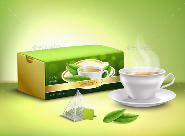 Green Tea Packaging Realistic Design - Food Objects