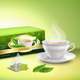 Green Tea Packaging Realistic Design