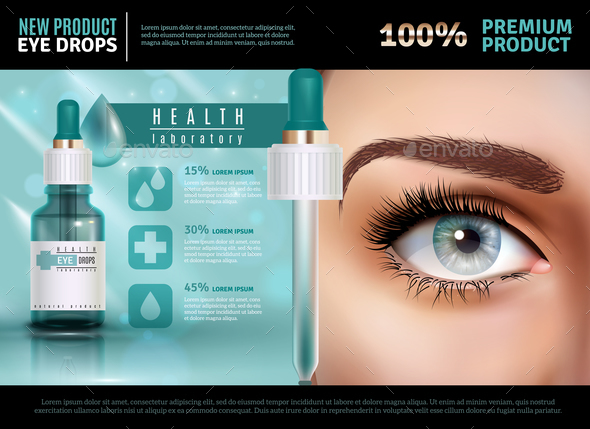 Eye Drops Realistic Advertising Poster - Health/Medicine Conceptual