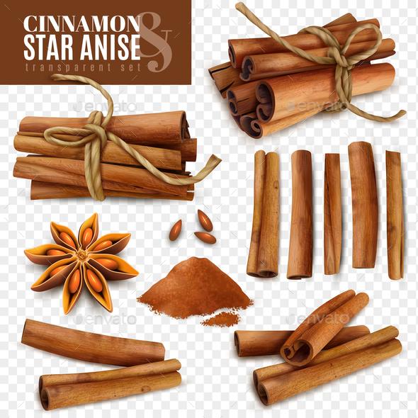 Cinnamon Star Anise Transparent Set - Food Objects