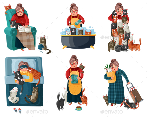 Lonely Lady with Cats Set - People Characters