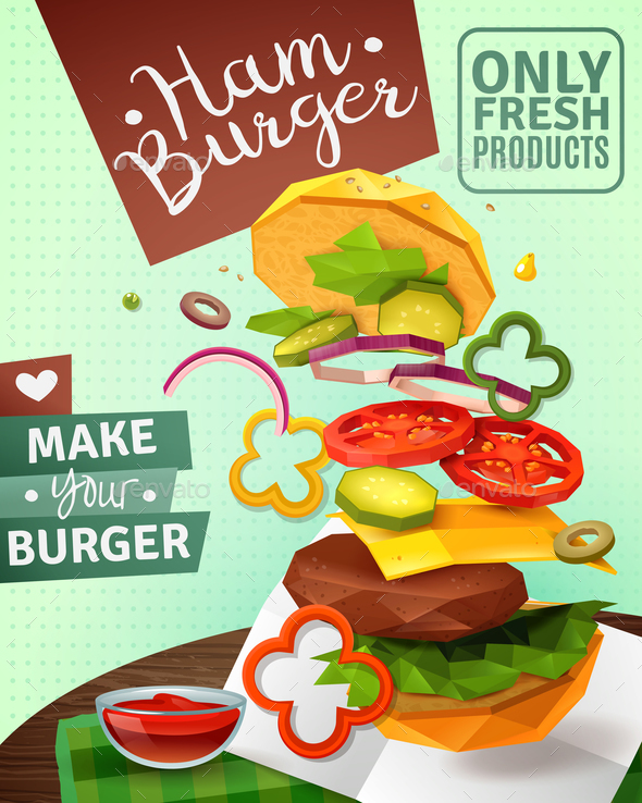Hamburger Ad Poster - Food Objects
