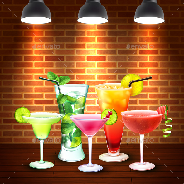 Cocktails Realistic Colored Composition - Food Objects