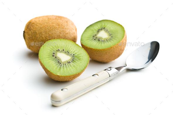 Halved kiwi fruit. - Stock Photo - Images