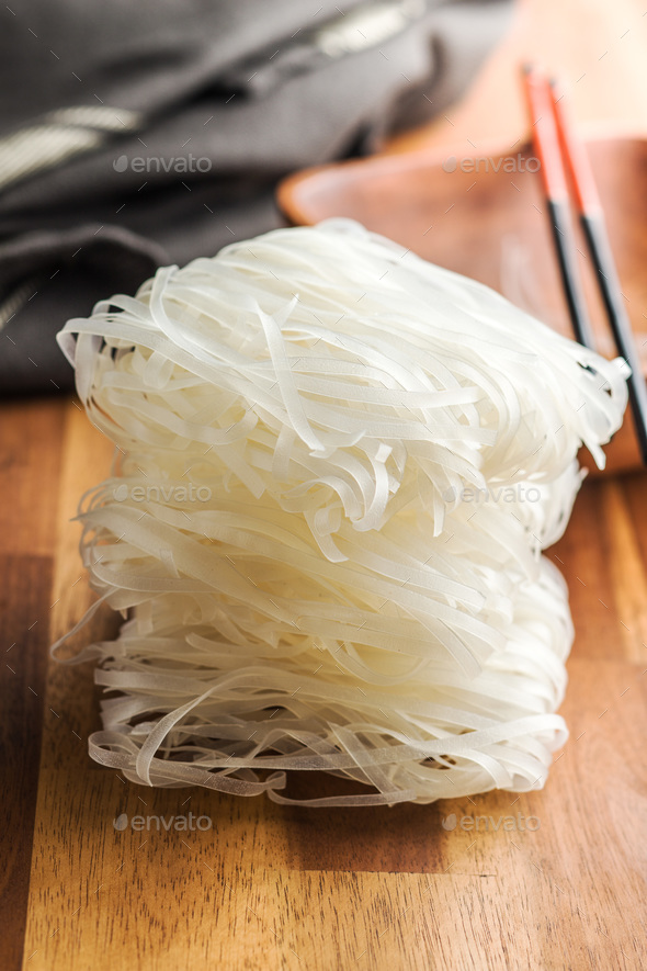 Dried rice noodles. - Stock Photo - Images
