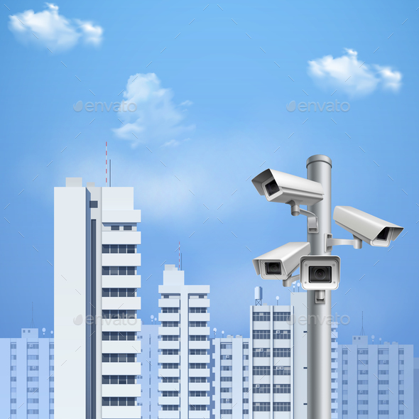 Surveillance Camera Realistic Background - Buildings Objects
