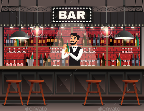 Bar Interior Realistic Composition - People Characters