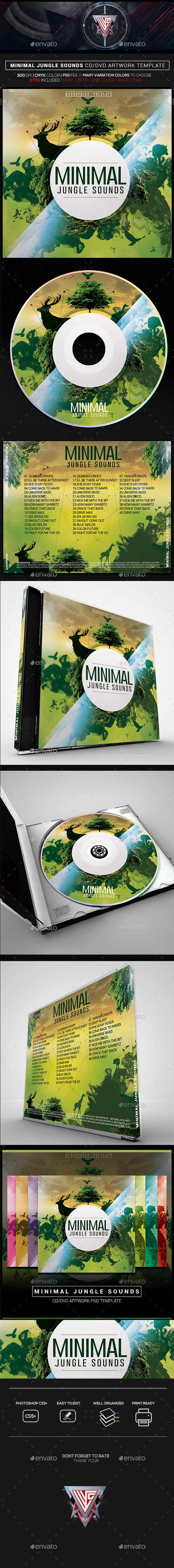 Minimal Jungle Sounds CD/DVD Template - CD & DVD Artwork Print Templates