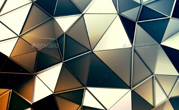 Abstract 3D Rendering of Polygonal Background - Abstract Backgrounds