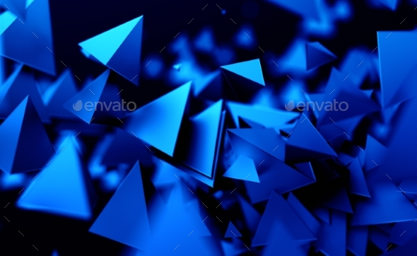 Abstract 3D Rendering of Flying Polygonal Shapes - 3D Backgrounds