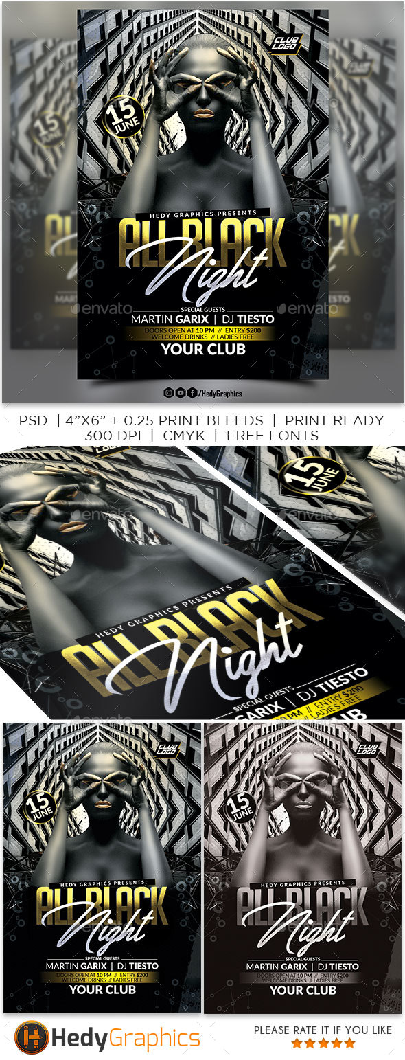 All Black Night - Events Flyers
