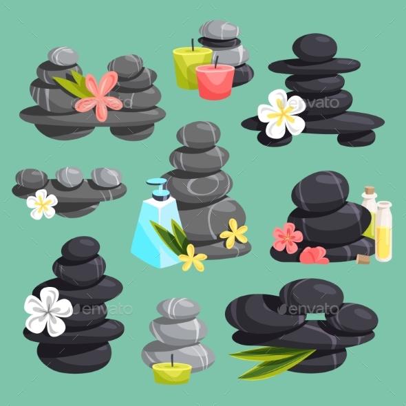Spa Stones Vector Stack Beauty Hot Procedure - Objects Vectors