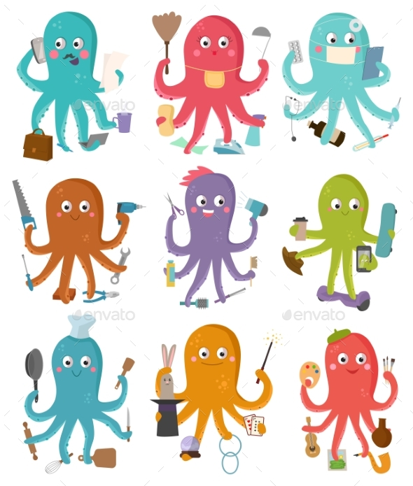 Octopus Occupation Vector Illustration Cartoon - People Characters