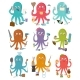 Octopus Occupation Vector Illustration Cartoon