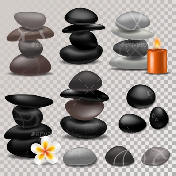 Spa Stone Vector Zen Stony Therapy for Beauty - Flowers & Plants Nature