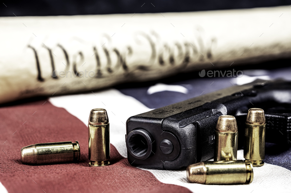 United States constitution and gun rights - Stock Photo - Images
