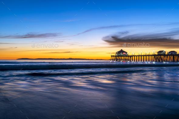 Huntington Beach Pier at Sunset - Stock Photo - Images