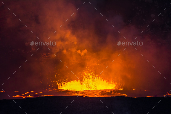 Boiling lava in Kilauea Volcano - Stock Photo - Images
