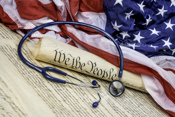 Constitution, Gavel and stethoscope - Stock Photo - Images