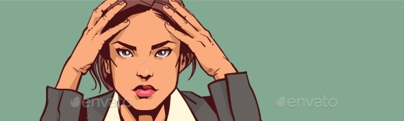 Depressed Business Woman Portrait Closeup - Miscellaneous Vectors