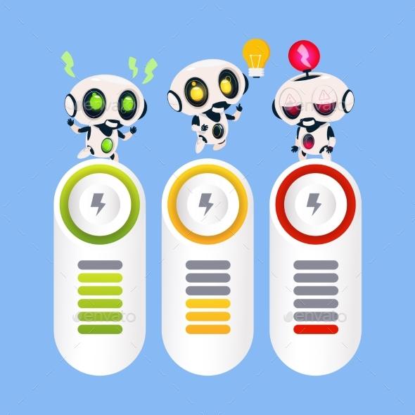 Set Of Robots Template Infographic Elements - Technology Conceptual