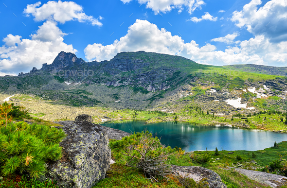 Carous Lake in Mountains of Southern Siberia - Stock Photo - Images