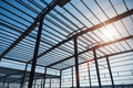 steel structure workshop in construction, steel frame factory building closeup - PhotoDune Item for Sale