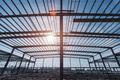 steel structure workshop closeup , steel frame factory buildings in construction - PhotoDune Item for Sale