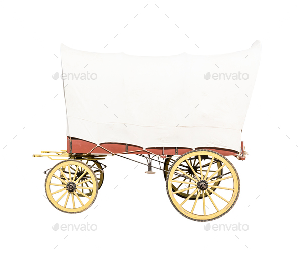 Wagon with white top covered - Stock Photo - Images