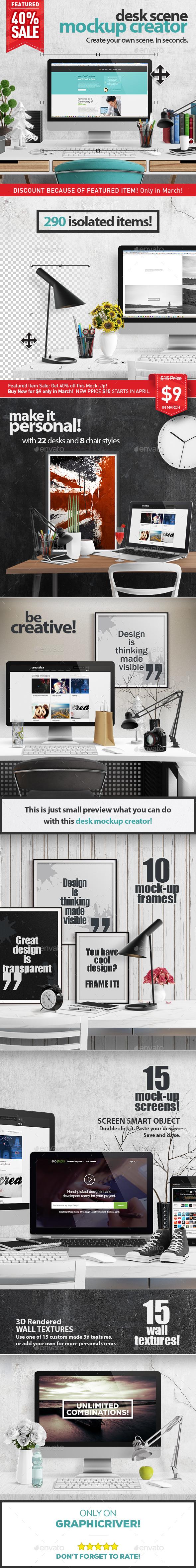 Desk Scene Mock-Up Creator - Hero Images Graphics