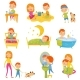 Daily Routine of Little Boy. Kid Eating Breakfast - GraphicRiver Item for Sale