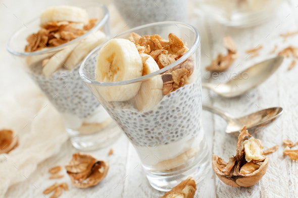 Chia pudding parfait with banana - Stock Photo - Images